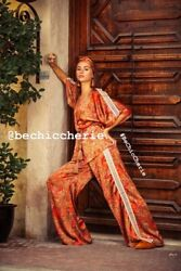Womens New Kimono Top And Wide Leg Trousers Set, Choose Size And Fabric Size L