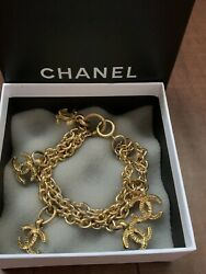 Auth Rare Vintage Cc Logo Charm Multi Chain Braclet 90's Gold Plated