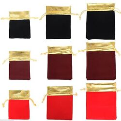 10 Gold Trim Velvet Bags Jewelry Wedding Party Favors Gifts Drawstring Pouches $2.49