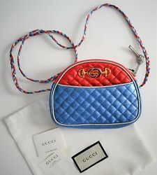 New Auth Trapuntata Red Blue Metallic Quilted Leather Mini Crossbody Bag