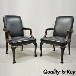 Antique English Georgian Style Dark Green Leather Library Office Chairs - A Pair