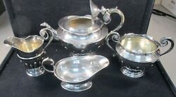 1900and039s Antique Tea Serving Set .925 Sterling Silver With Free Shipping