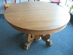 Antique Oak Dining Table Lion Claw Center Post Very Early 1900and039s Nice