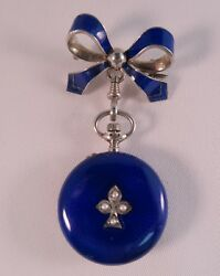 French Antique Enamel Diamond Seed Pearls Pocket Watch With Bow Pin Perfect Work