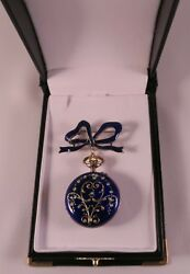 Vintage Longines Enamel Guilloche Pocket Watch, Bow Brooch Perfect Working