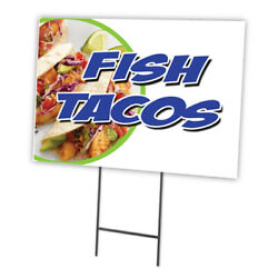 Fish Tacos Yard Sign And Stake Outdoor Plastic Coroplast Window