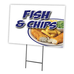 Fish And Chips Yard Sign And Stake Outdoor Plastic Coroplast Window