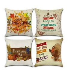 NWT Thanksgiving pillow cover linen flax fabric holiday Fall Autumn 18quot;x18quot;