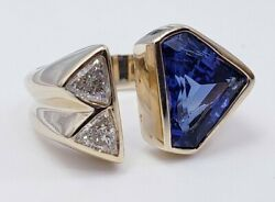 Triangular Cut Blue Glass And Diamonds In 14 Kt Yellow Gold Ring Size 6 Us