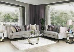Transitional Style Gray Fabric Living Room Furniture 2 Piece Sofa Couch Set Igdu