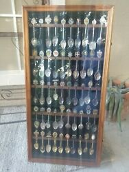 Large 50pc Vintage Souvenir Spoon Collection In Wood Display Case W/glass Door