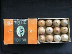 Vintage Seiberling Golf Balls W/ Box Labels Individual Wrapped Dimple Akron Ohio