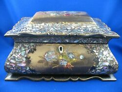 Antique Tea Caddy Box Papier Mache Mother Of Pearl Abalone English C1840