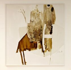 Mid Century Modern Framed Abstract Acrylic Painting Signed Joel Durand 1960s