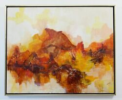 Mid Century Modern Framed Mixed Media Oil Painting On Canvas Signed Idell 1960s