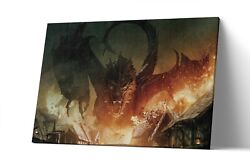 Smaug Dragon Lord Of The Ring Canvas Print Lotr Wall Art Artwork Painting Poster