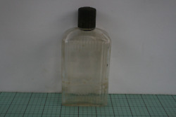 Vintage Jergens Clear Glass Lotion Bottle With Black Lid Anchor Hocking, 1950's