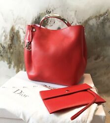 Rare Dior Diorific Large Coral Pink Leather Bucket Bag