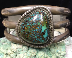 Museum Quality Sterling Silver And Rainbow Bisbee Turquoise Cuff Bracelet, 87.9g