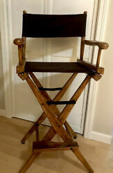 Action Vintage Hand Carved Wood Directors Chair, Antique Walnut Finish, Great
