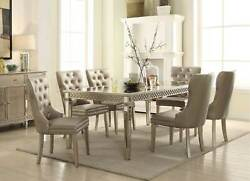 Stylish Champagne Finish 7 Piece Dining Room Furniture Table And Chairs Set Icb9
