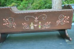 Vintage Baby Doll Cradle, Toil Painted Wooden Doll Cradle, Kids Toys,