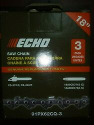 Oem Echo 91px62q-3 Pack Chainsaw Chains Fits 18 Cs-370 And Cs-400
