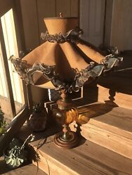 Vtg Hollywood Regency Amber Glass Saucer Table Lamp With Burlap Ruffle Shade