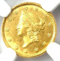 1853-c Liberty Gold Dollar G1. Ngc Uncirculated Detail - Rare Ms Charlotte Coin