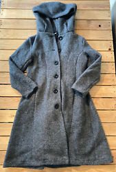 Vintage Charlotte amp; Louis Women's long wool Hooded button up coat size 42 Grey $69.00