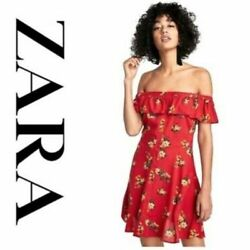 ZARA Woman Off The Shoulder Red Floral Button Front Dress Size Small $27.99