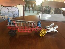 Antique Cast Iron Fire Truck, 2 Carriage Horses 2 Ladders 2 Firemen All Moveable