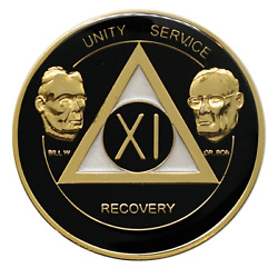 11 Year Aa Coin Founders Black Alcoholics Anonymous Anniversary Sobriety Chip