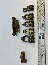Lot Of 7 Vintage Assorted Delicate Machined Fine Double Brass Pulleys