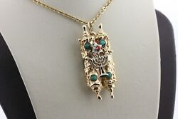 14k Yellow And White Gold Intricate Turquoise And Coral Jewish Torah Charm Pendant