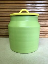 Vintage Haeger Ceramic Canister Green /yellow Lid Mid-century Modern Usa Pottery