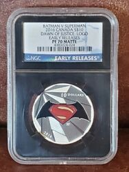 2016 Ngc Pr 70 Canada 1oz Silver 10 Dawn Of Justice Logo Early Release