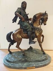120 Lbs Signed Bronze Arab On Horse Scuplture Statue On Marble Base By Barye