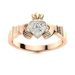 Certified 1/2 Ctw Heart Cut Natural Vs Diamond Claddagh Ring 14k Rose Gold