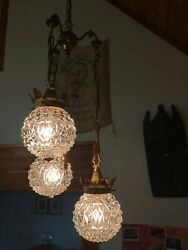 Vintage Mid Century Modern Mcm Gold-gilded Pull-chain Ceiling Light Glass Globes