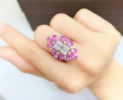Clearance Nwt 6109 Rare 18kt 4ct Pink Sapphire Double Baguette Diamond Ring