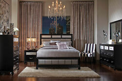 New Transitional Black Gray 5 Pieces Bedroom Set With Queen Upholstered Bed Il78