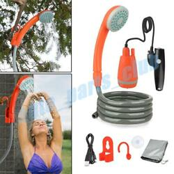 Outdoor Portable Camping Shower Usb Rechargeable Battery Handheld Shower Head Us