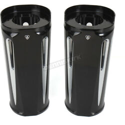 Arlen Ness Black Anodized +2 In. Deep Cut Fork Boot Slider Covers - 20-029
