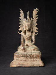 Antique Bronze Crowned Buddha Statue From Burma, 17th Century