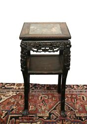 20th Century Chinese Dark Wood Side Table Pedestal Plant Stand