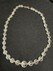 Genuine 1930s European Clear Lucite Beaded Necklace, 14 Karat White Gold - 30
