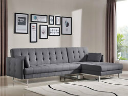 Modern Living Room Furniture Sectional - Gray Fabric Sofa Couch Chaise Set Irvb