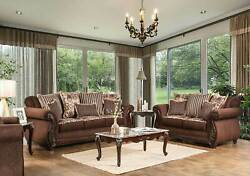 Traditional Living Room Wood Trim And Brown Fabric Sofa Couch And Loveseat Set Irct