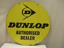 Vintage Sign Board Porcelain Enamel Dunlop Tire Tyre Double Sided Yellow Color4